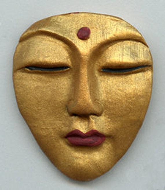 Polymer Clay Larger Buddha Cab Golden LGGB 1