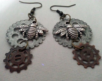 Steampunk Busy Bee Cogs earrings -- mixed metals