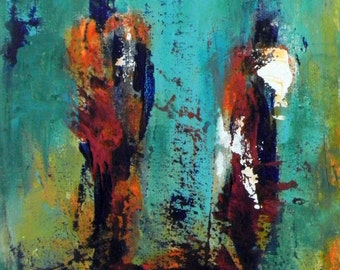 ORIGINAL Abstract EXPRESSIONIST Modern Art Oil Painting Colorful Abstract Figure Maasai Art 16x12 by BenWill