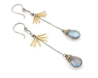 Faceted Labradorite Tassel Drop Earrings- labradorite, sterling silver, gold fill.