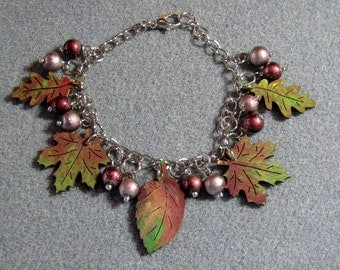 Autumn Leaves Maple Oak Handmade Wooden Beaded Adjustable Charm Bracelet 4B