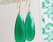 20% off Sale Long Faceted Green Onyx Teardrop Earrings