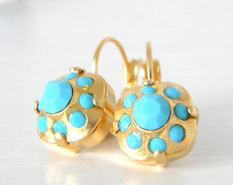 Turquoise Cushion Cut Gold or Silver Leverback Earrings with Swarovski Elements