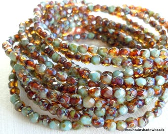 4mm Czech Beads  - Czech Glass Beads Topaz Turquoise Faceted Round - 50 pcs