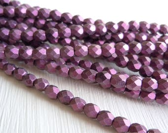 4mm Czech Beads - Metallic Suede Pink Firepolished Faceted 50 pcs