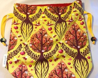 Medium Knitting Crochet Project Bag- Autumn Woodland
