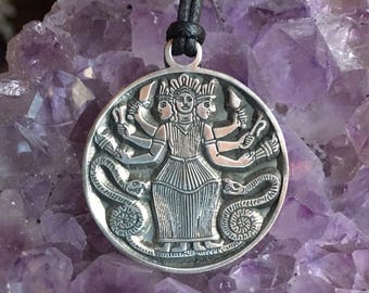 Pewter HEKATE HECATE Pendant Goddess of Witchcraft Crossroads Keys Moon
