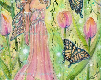 Spring fairy fae with butterflies field of tulips fantasy art  print by Renee L  Lavoie