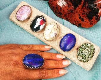 Oversized Gemstone Rings - Oval Lapis Lazuli Ring Oval Lepidolite Ring oversized - Oval Crazy lace Agate/Jasper Ring - each sold separately