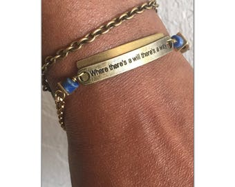 """Affirmation Brass Bracelet, inspirational jewelry,""""Where There's A Will There's a Way"""" brass bracelet - positive sayings - Free US Shipping"""