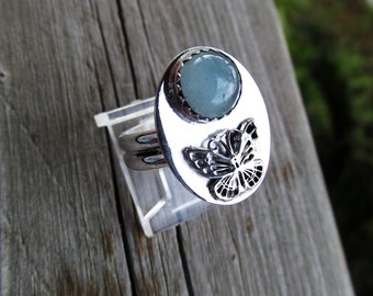 Aquamarine butterfly sterling silver ring size 8