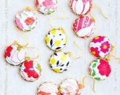 Colorful Earrings, Fabric Earrings, Liberty Of London Jewelry, Small Dainty Earrings, Present For My Mom, Flower Earrings, Floral Earrings