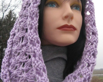 Knit Cowl, Infinity Scarf, Lilac Wool Cowl for Woman, Circle Scarf