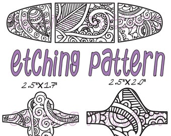 Combo Digital Pattern for Etching Floral Cuff, Earring, Ring Download -DT-123-3321-2