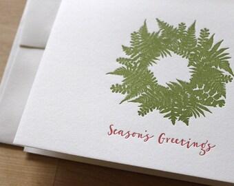 Hand Gathered Fern Wreath - Holiday Card