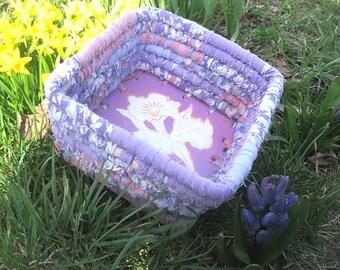 WHITE IRIS  textile art Basket tray box