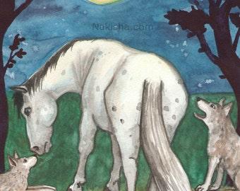 Original Art - The Moon - Watercolor Horse Painting - Art from The Riderless Tarot