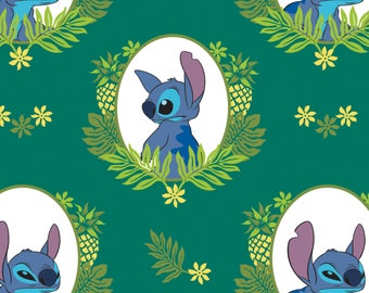 Tropical Frame in Evergreen Lilo and Stitch Disney Woven Cotton Fabric BTY