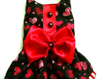 Dog Dress  with Valentine hearts for your little fur baby or puppy matches our Valentine vest for the boys