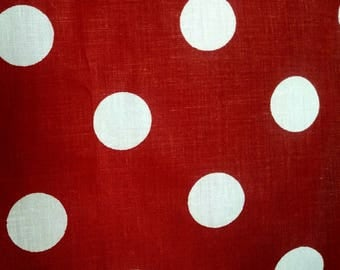 Fabric red with white polka dots by the yard 1 inch dots
