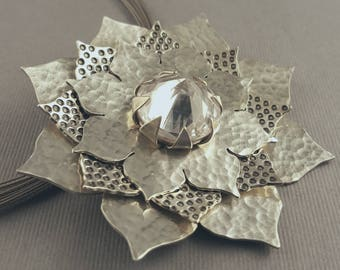 Lotus Blossom Study 2 Cubic Zirconia and Sterling Silver Flower Pendant