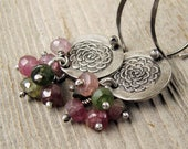 Custom order for OHDOEDE Old Rose Silver and Tourmaline Earrings