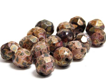 Fire Polished Beads - Round Beads - 8mm Beads - Czech Glass Beads - Czech Picasso Beads - Faceted Beads - 16pcs (4149)