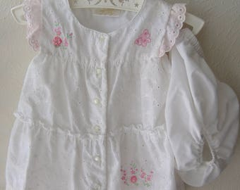 Little Billy White and Pink Eyelet Sundress and Panties, Size 12 Months