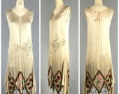 1920s dress / flapper / silk beaded JAZZ AGE wedding dress