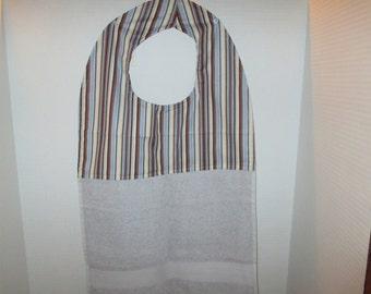 Adult bibs, reversible, striped, blue, brown, clothing protector, special needs bib,large bib, Dementia bib, adult cover up,hand towel bib