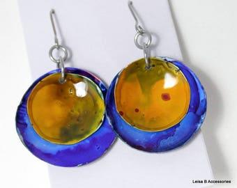 Dark Blue and Mustard Disk Earrings AIE5