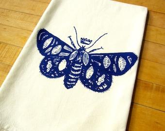 Butterfly Moth Queen Dish Towel, Soft Cotton Flour Sack Hand Printed Tea Towel, Cobalt Blue, Black Ink, Hostess Gift, Teachers Gift