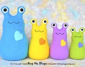 Reserved for tiaheinbaugh1, Handmade Slug, Stuffed Animal Plush Kids Baby Art Toy, Hug Me Slug, Personalized Tag, Ice Green Fleece, 9 in