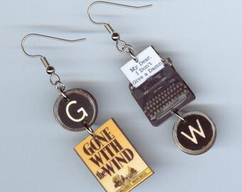 Book Cover Earrings - Gone with the Wind  - typewriter Quote - literary book club gift - mismatched earring designs by Annette