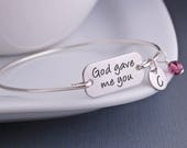 God Gave Me You Bracelet, Personalized Mother's Bracelet, Mother's Day Gift for Mom, Gift for Wife, Mom Bangle Bracelet, Religious Jewelry