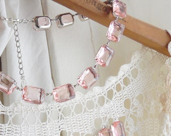 blush pink necklace, Anna Wintour necklace, pink jewelry set, collet necklace, light Pink statement necklace, pink wedding necklace.