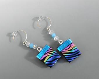 Rainbow Fused Glass Earrings, Dichroic Fused Glass Drop Earrings, Tiger Stripe Fused Glass Dangle Earrings, Animal Print Earrings