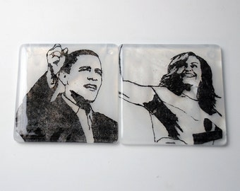 President Barack Obama and First Lady Michelle Obama Fused Glass Coaster 2-pack