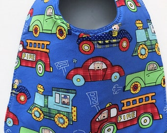 Baby Bib:  Trucks, Fire Engines, Cars, and Trains