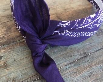 Bandana Knot Tie Headband Bandanna Head Wrap Rock Fashion Headband (EGGPLANT)