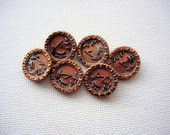 Set of Six Beautiful Vintage-Antique Copper Tinted Pictorial Metal Buttons