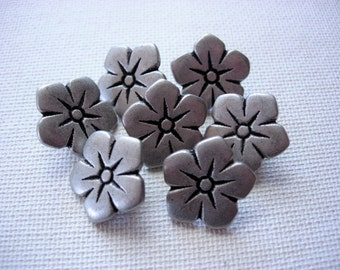 Seven Sweet Silver Tone Metal Flower Designed Buttons
