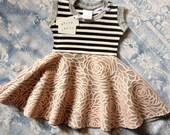 12 month Indie Stripe Floral Baby & Kids Circle Skirt Dress Spicy Toast
