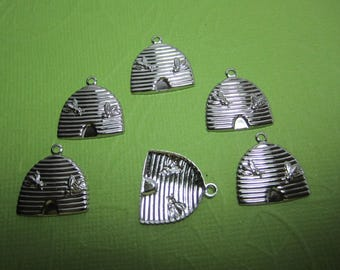 Bee Hive, Bee Skep Basket, Medieval Silver Tone Charms x 6