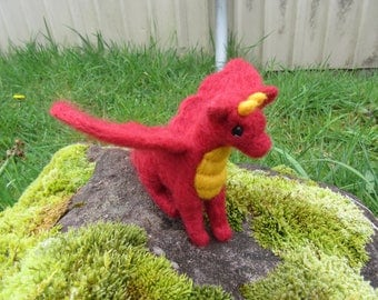 Felted Red Dragon Figure Needle Felted Friendly Dragon