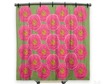 Floral Shower Curtain, Shower Curtain, Shower Curtains, Poppy Shower Curtain,  Fabric Shower