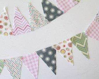 Baby Girl mini pennant flags. Pink wedding Bunting, Polkadot Gray party decoration. fabric sewn scrap flag banner. Chevron check Photo prop.