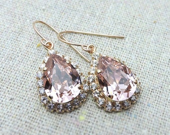 Swarovski Crystal Blush Pink Teardrop Dangling Earrings Crystal Faux Diamond Pave Halo Rose Gold Bridal Jewelry Wedding Party Gifts