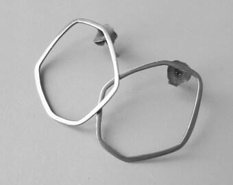 hoops,sterling silver hoop earrings,stud earrings,oxidized sterling silver,minimalist ,polygon earrings,contemporary earrings,ooak jewelry