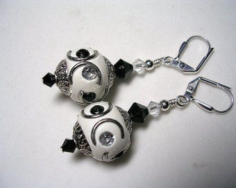 Boho Embellished Indonesia Earings in Silver Black and White  Swarovski Crystal Rhinestone Leverback Hooks